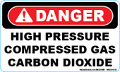 "3 x 5"" Danger High Pressure Compressed Gas Carbon Dioxide Decal"