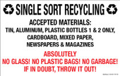 "7 x 11"" Single Sort Recycling Absolutely No Glass, Plastic Bags, Garbage Decal"