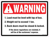 "9 x 12"" Warning Load Must Be Level: 1 Ton"