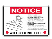 "6 x 9"" Notice Cart Instructions Decal Wheels Facing House"