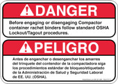 "5 x 7"" Before engaging or disengaging follow OSHA Procedures Bilingual Decal"