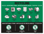 """8 x 11"""" Recycling Acceptable Items Multilingual"""