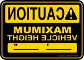"5 x 7"" Caution Maximum Vehicle Height (Mirror Image) Decal"