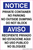 "6 x 9"" Notice Private Container No Parking Bilingual"