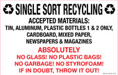 "7 x 11"" Single Sort Recycling Absolutely No Glass, Plastic Bags, Garbage, No Styrofoam Decal"
