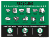 "8 x 11"" Recycling Acceptable Items Bilingual, No Glass, No Plastic Bags, No Garbage"