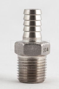 "Barb, Stainless 1/2"" mpt x 3/8"""