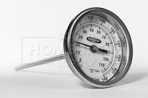 """Thermometer, Dial - 1/2 npt w/ 3"""" Diameter & 6"""" Probe"""