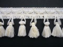 Cotton Crimp 70mm Tassel Fringe, Colour 1 Natural [ONLY 9 METRES LEFT]