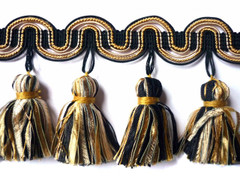 Barcelona 95mm Tassel Fringe, Colour 1 Black/ Gold