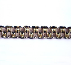 Loudes Spanish 12mm Gimp Braid, Colour 1: Coffee/ Cream/ Black [ONLY 12 METRES LEFT]