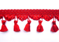 Princess 60mm Tassel Fringe, Colour Scarlet