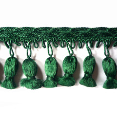 Tulips 70mm Tassel Fringe Colour Forest 6 METRE LOT BUY