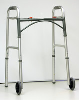 "Drive Deluxe Folding Walker 2 Button 5"" Wheels- Adult"