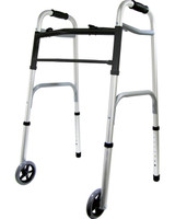 "Deluxe 2-Button Folding Walker with 5"" Wheels"