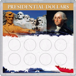 "Frosted 6.5"" x 6.5"" Case for Presidential Dollars (8 Holes)"