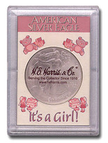"Frosted 2"" x 3"" Case for American Silver Eagle Dollars: It's A Girl"