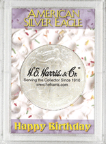 "Frosted 2"" x 3"" Case for American Silver Eagle Dollars: Happy Birthday"