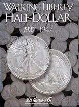 H.E. Harris Folder: Walking Liberty Half Dollar #2 1937-1947