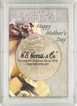 "Frosted 2"" x 3"" Case for American Silver Eagle Dollars: Happy Mothers Day!"