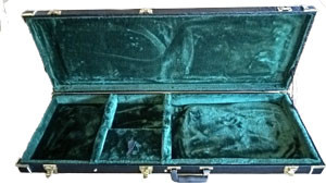 HC Rectangular Guitar Case Plush Padded Lining Storage Compartment Multi Ply Wood Construction