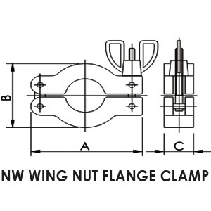 NW 25 Wing nut flange clamp - drawing