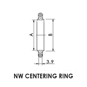 NW 50 centering ring, Stainless steel, Viton® O-Ring.