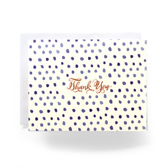 Blue Polka Dot Thanks Greeting Card