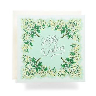 Handkerchief Hello Darling Greeting Card, Sea Foam