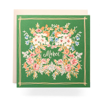 Handkerchief Merci Greeting Card, Jade