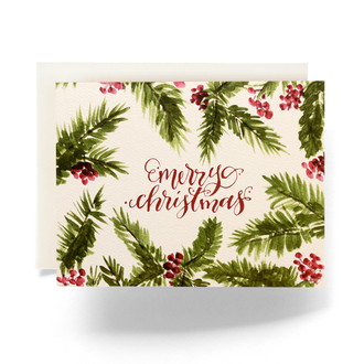 Holly Berry Merry Christmas Holiday Card