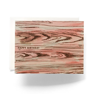 Faux Bois Happy Birthday Greeting Card