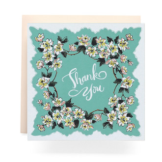 Handkerchief Thank You Greeting Card, Aqua