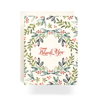 Folk Wreath Thank You Greeting Card