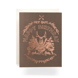 Happy Birthday Hunting Crest Greeting Card, smoke