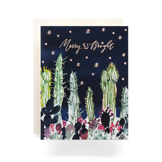 Cactus Garden Merry & Bright Greeting Card