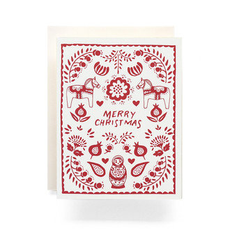 Red Scandinavian Merry Christmas Greeting Card