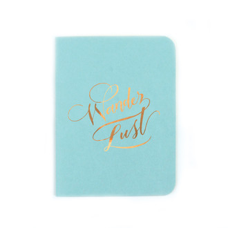 """Wander Lust"" Gold Foil Notebook, Pool Blue"
