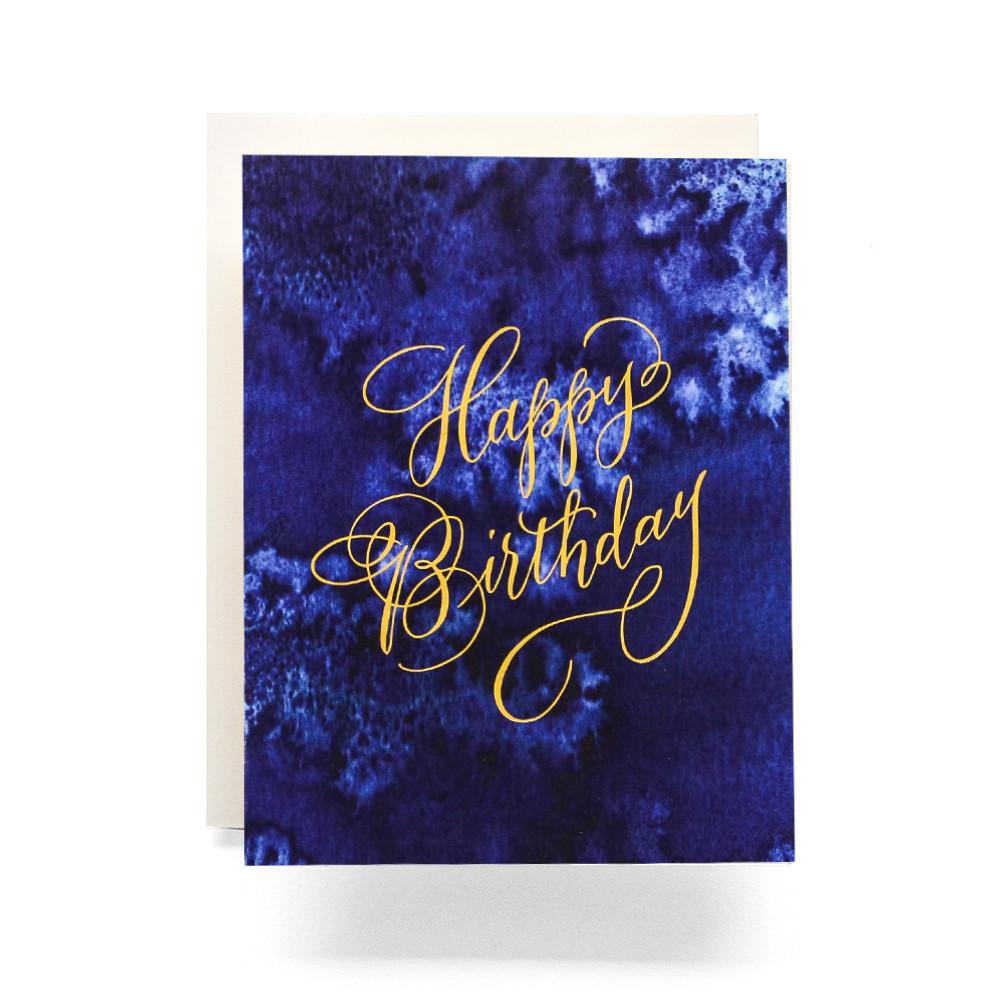 Indigo Happy Birthday Greeting Card Antiquaria