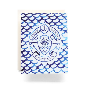 Indigo Captain Happy Birthday Greeting Card