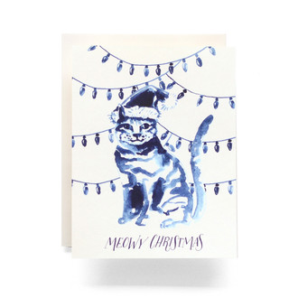 Indigo Meowy Christmas Greeting Card