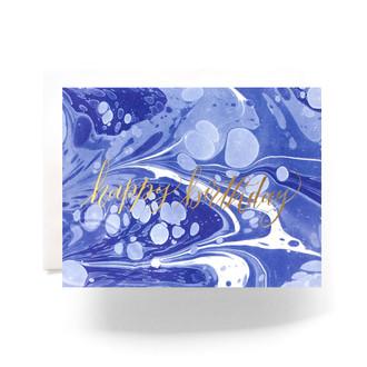 Marble Birthday Greeting Card, blue