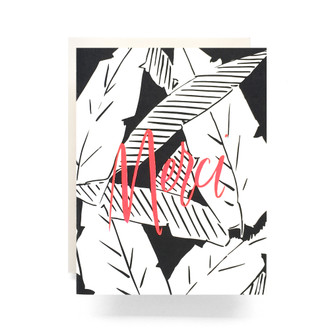 Palm Leaves Merci Greeting Card