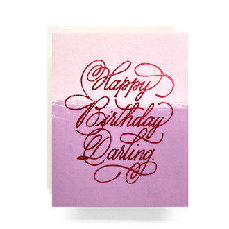 Red Glitter Birthday Darling Greeting Card