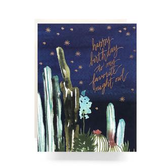 Night Cactus Birthday Greeting Card