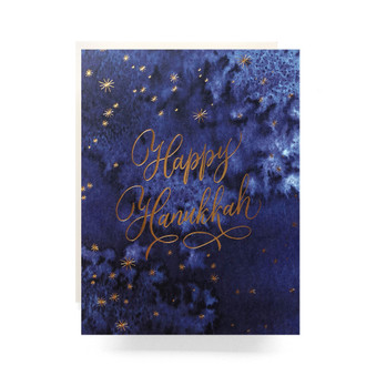 Indigo Hanukkah Greeting Card