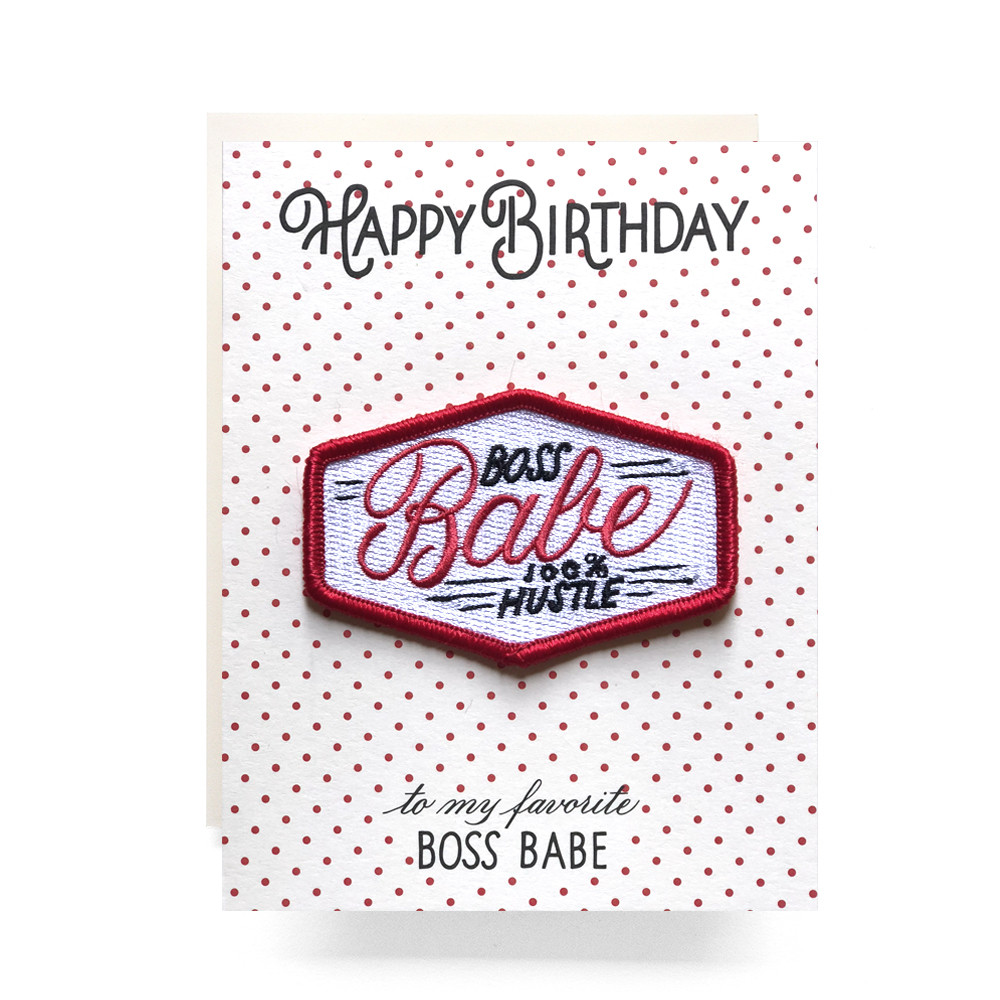 Patch greeting card boss babe birthday antiquaria image 1 m4hsunfo