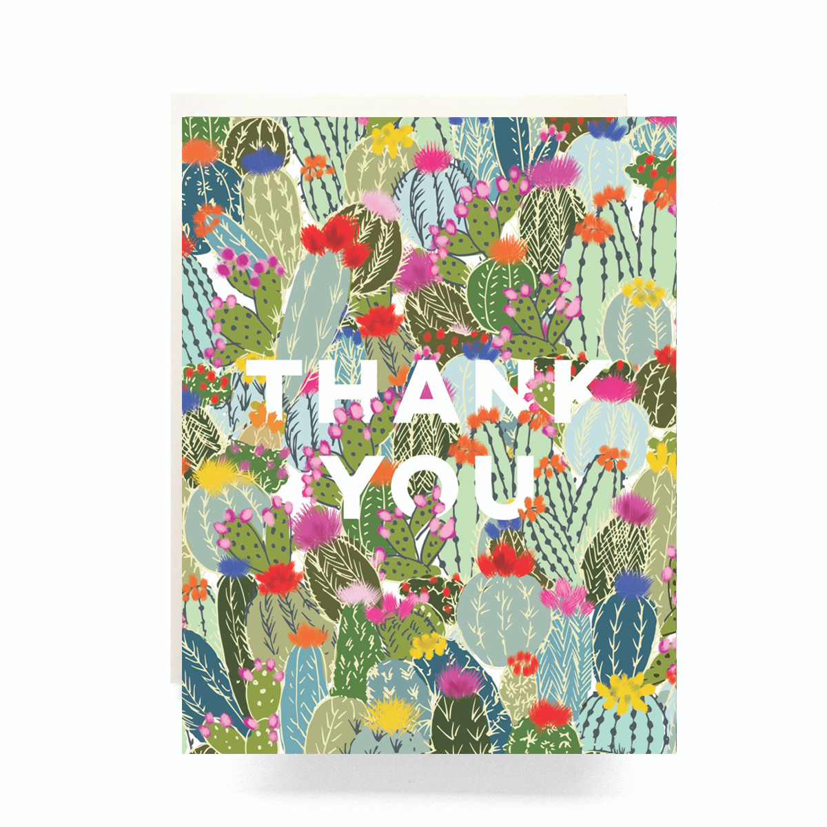 Cactus Explosion Thank You Greeting Card Antiquaria