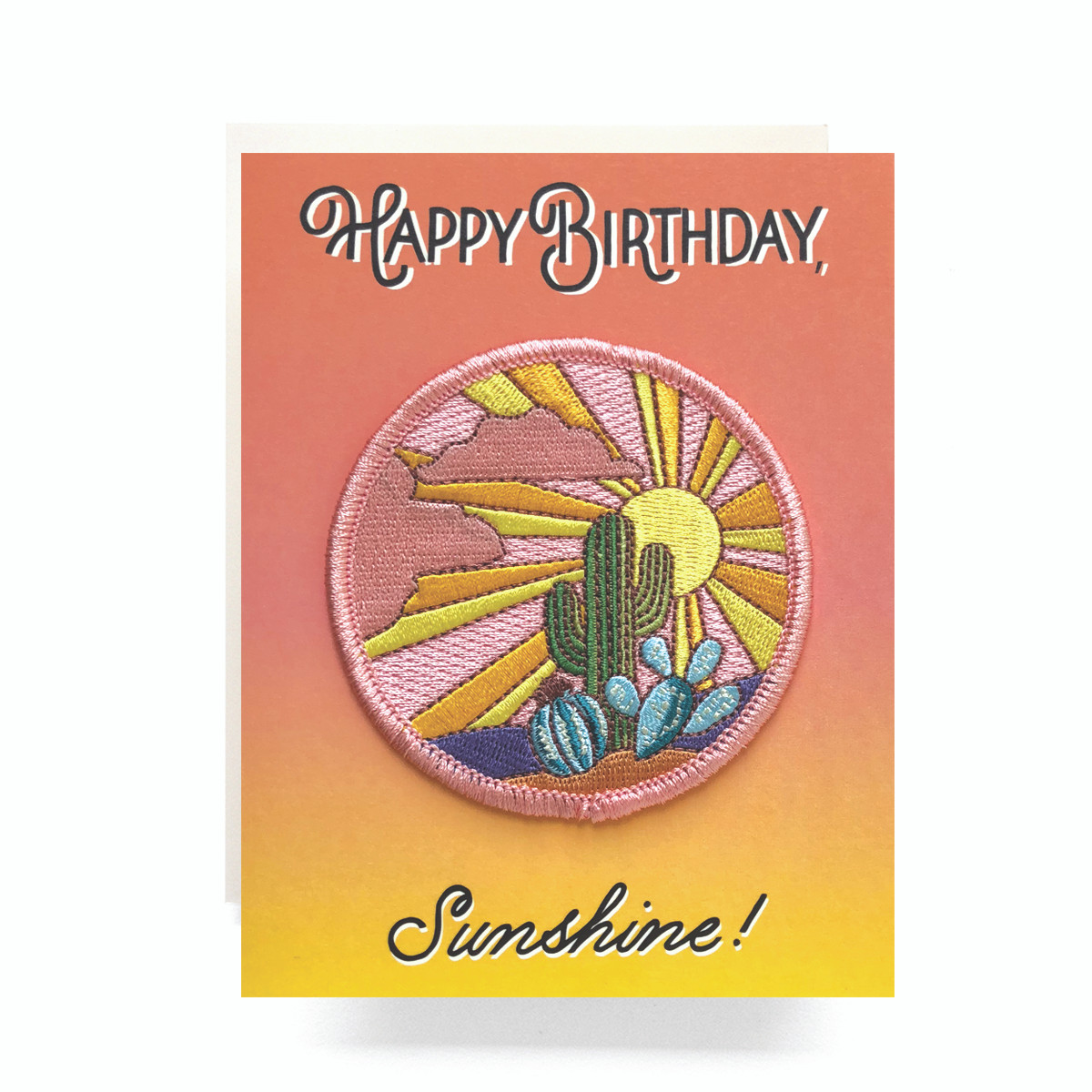 Patch Greeting Card Cactus Sunset Birthday Antiquaria