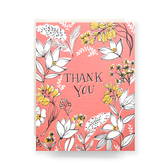 Floral Toile Thank You Greeting Card